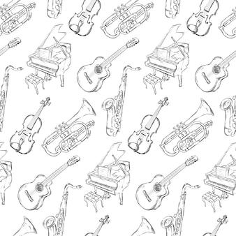 Fondo con patrón de instrumentos musicales dibujados a mano