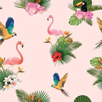 Fondo con patrón de pájaros y hojas de palmera