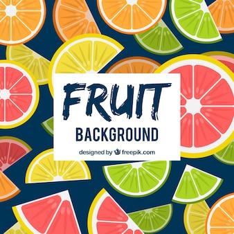 Fondo con patrón de rodajas de fruta