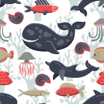 Fondo con patrón de vida marina