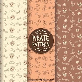 Fondo con patrón pirata dibujado a mano