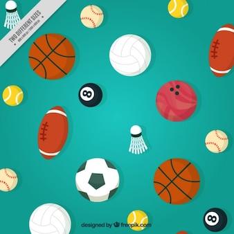Fondo con pelotas de diferentes deportes