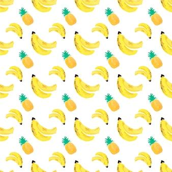 Fondo con piñas y plátanos