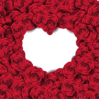 Fondo con rosas rojas y corazón vacío