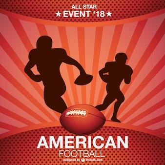 Fondo con siluetas de fútbol americano
