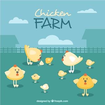 Fondo con simpáticas gallinas
