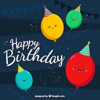 Fondo con simpáticos globos de cumpleaños