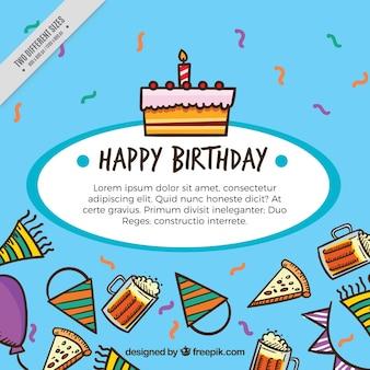 Fondo con tartas y elementos de cumpleaños