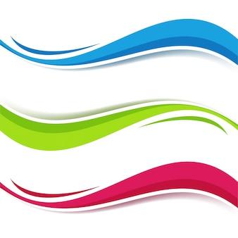 Fondo con tres abstractas formas onduladas