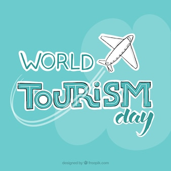 Fondo con un avión para el día mundial del turismo