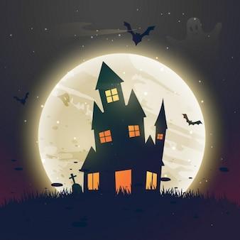 Fondo con un espeluznante paisaje para la fiesta de halloween