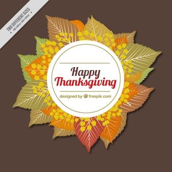 Fondo con un marco de hojas para el día de acción de gracias