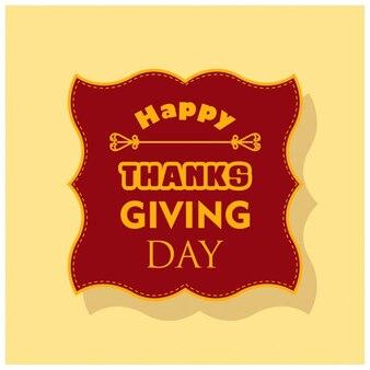 Fondo con una etiqueta roja para el día de acción de gracias
