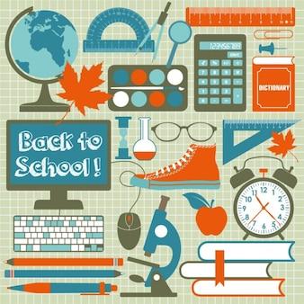 Fondo con utensilios escolares