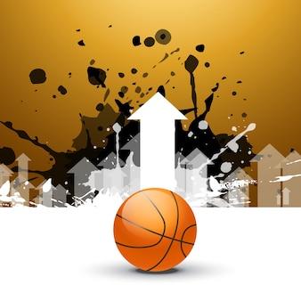 Fondo creativo de baloncesto con flecha