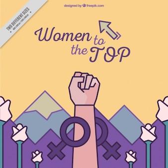 Fondo creativo de mujer alzando el puño con frase inspiradora
