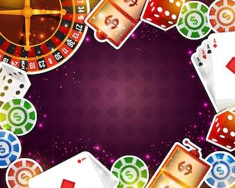 Fondo creativo del casino con los varios elementos de papel.