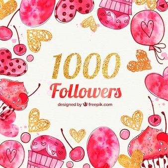 Fondo de 1000 seguidores con corazones y dulces de acuarela