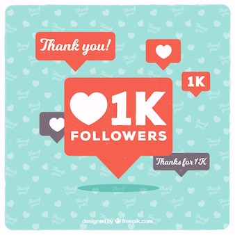 Fondo de 1k de seguidores con bocadillos de diálogo