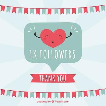 Fondo de 1k de seguidores con corazón contento