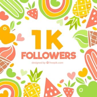 Fondo de 1k de seguidores con frutas dibujadas a mano