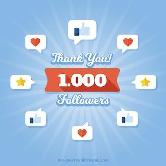 Fondo de 1k de seguidores con iconos y globos de diálogo en diseño plano