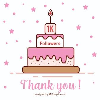 Fondo de 1k de seguidores con tarta en estilo lineal