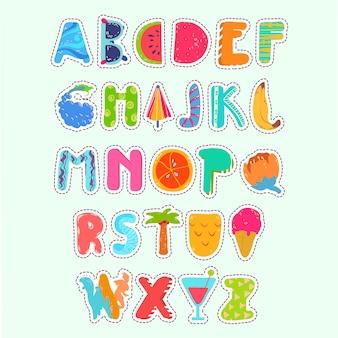 Fondo de abecedario con diseño de verano