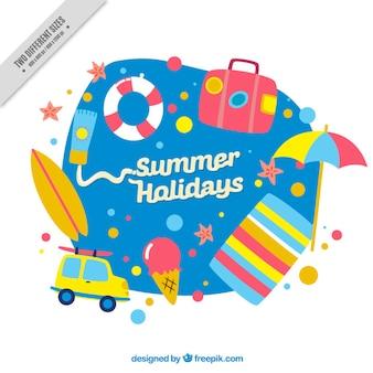 Fondo de accesorios bonitos de verano pintados a mano