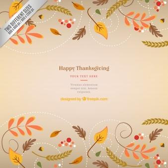 Fondo de acción de gracias con hojas otoñales