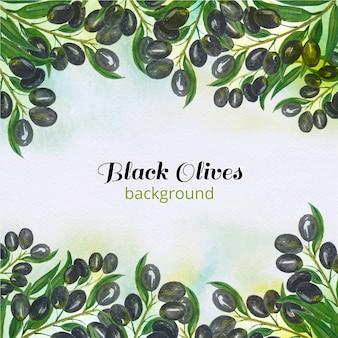 Fondo de aceitunas negras