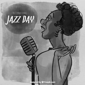 Fondo de acuarela con cantante de jazz