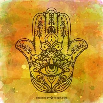 Fondo de acuarela con la mano de fátima dibujada a mano