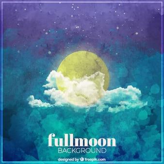 Fondo de acuarela con luna y nube