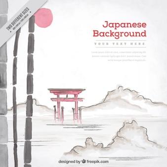 Fondo de acuarela con paisaje japonés de naturaleza