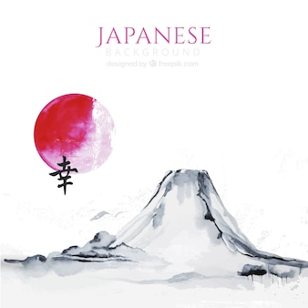 Fondo de acuarela con paisaje japonés