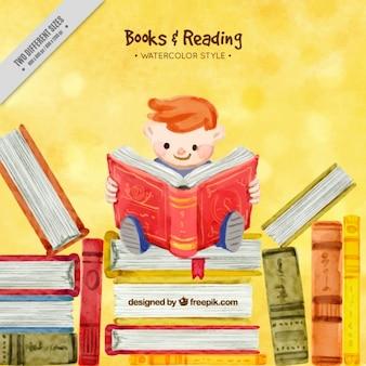Fondo de acuarela de adorable niño leyendo un libro