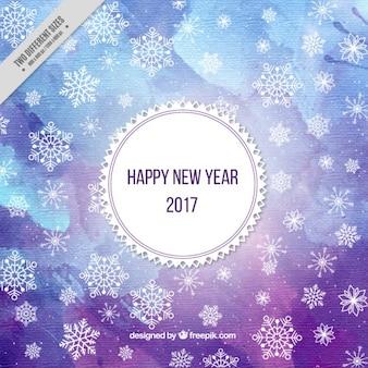 Fondo de acuarela de año nuevo en tonos morados y azules
