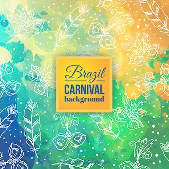 Fondo de acuarela de carnaval de Brazil