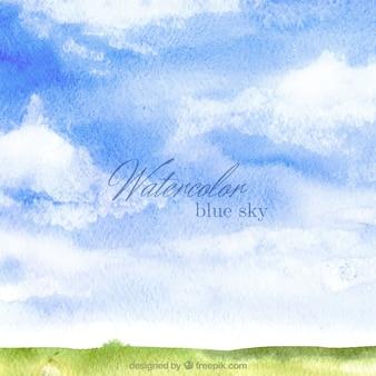 Fondo de acuarela de cielo azul