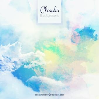 Fondo de acuarela de cielo con nubes