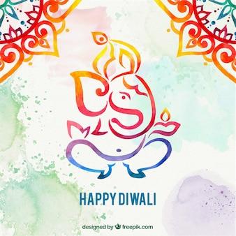 Fondo de acuarela de elefante diwali