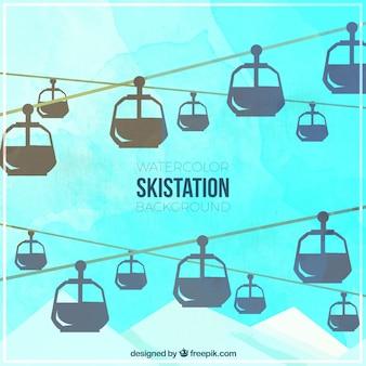Fondo de acuarela de estación de esquí