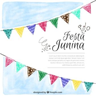 Fondo de acuarela de fiesta junina con banderines