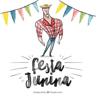 Fondo de acuarela de fiesta junina con granjero y guirnaldas