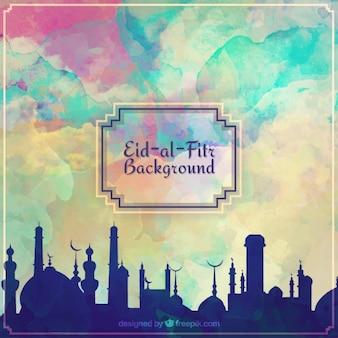 Fondo de acuarela de ramadan de eid al fitr
