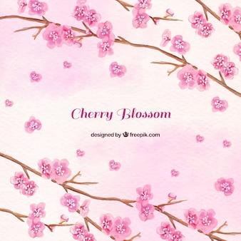 Fondo de acuarela de ramas de flores rosa