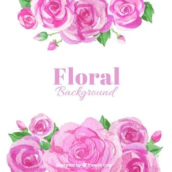 Fondo de acuarela de rosas en tonos rosas
