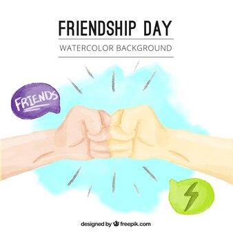 Fondo de acuarela de saludo de amigos