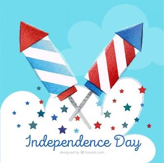Fondo de acuarela del día de independencia con cohetes y estrellas